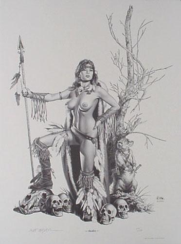 Clyde Caldwell - Skulls - Alerelean Nude S&N B&W print